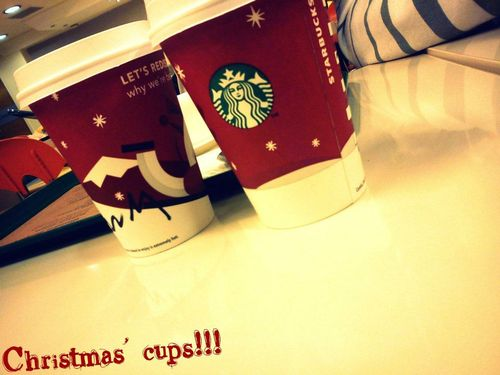 christmas, cups, starbucks, red