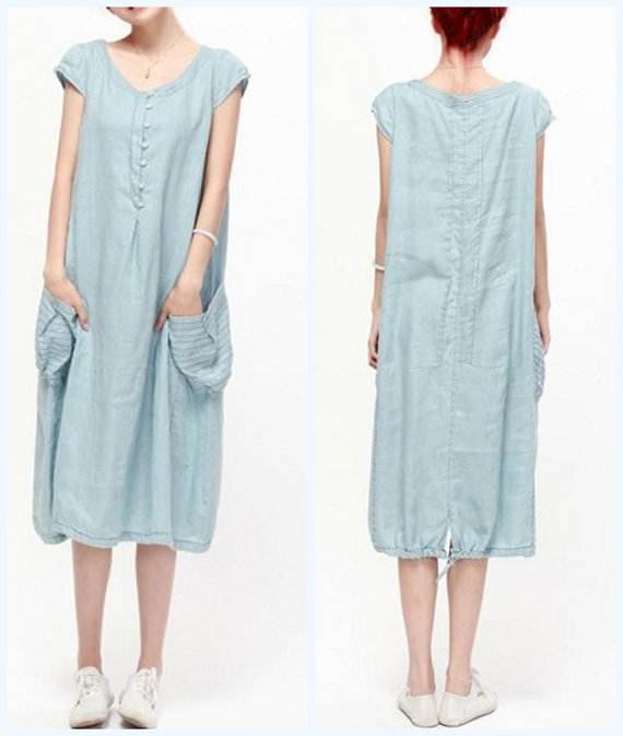 clothing, costume, dress, gray, leisure light, light blue, long dress, purple, short sleeved, sundress, tunic, women