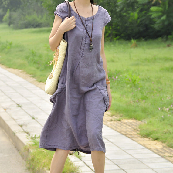 casual, clothing, costume, dress, ethnic, gown, gray, handmade, light blue, light purple, long dress, short sleeved, sundress, tunic, urban, women