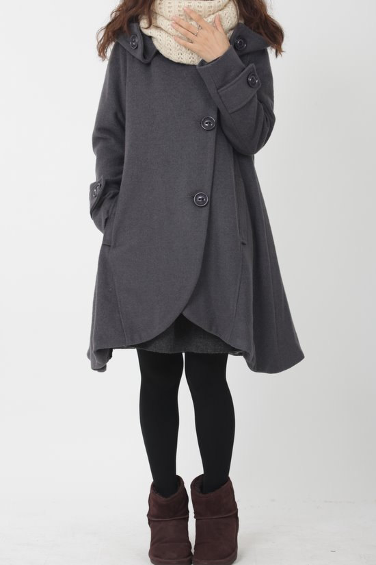 blouse, cape, cloak, clothing jacket, gray, hooded, long sleeve, loose, outerwear, overcoat, plus size, winter, women, wool coat