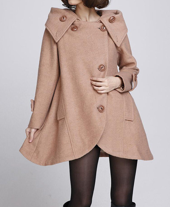 camel, cape, cloak, clothing, fall, hood, jacket, loose, maternity, overcoat, plus size, winter coat, women, wool coat