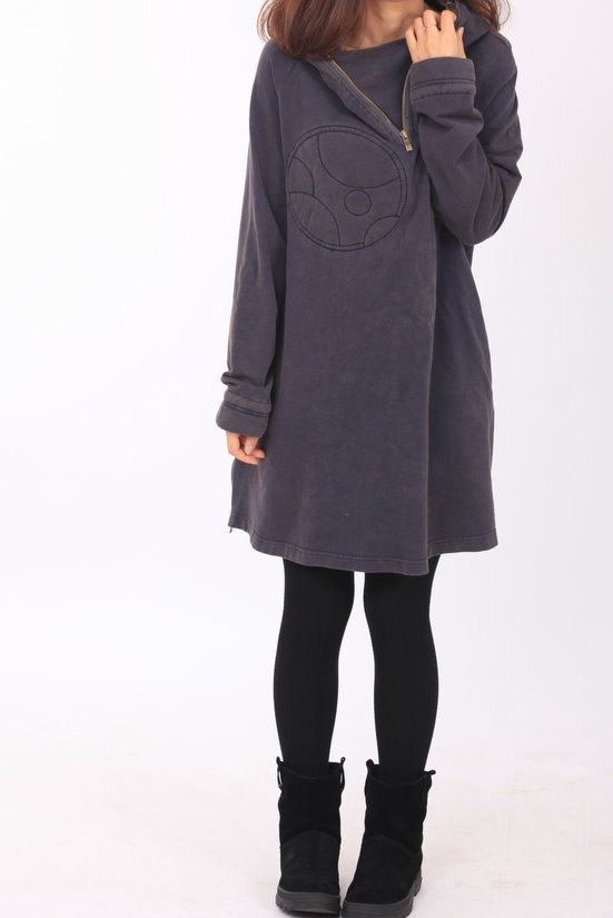 autumn, babydoll, clothing, coat, dress, gray purple, hooded, knee, long sleeve, plus size, spring, top, tunic, women