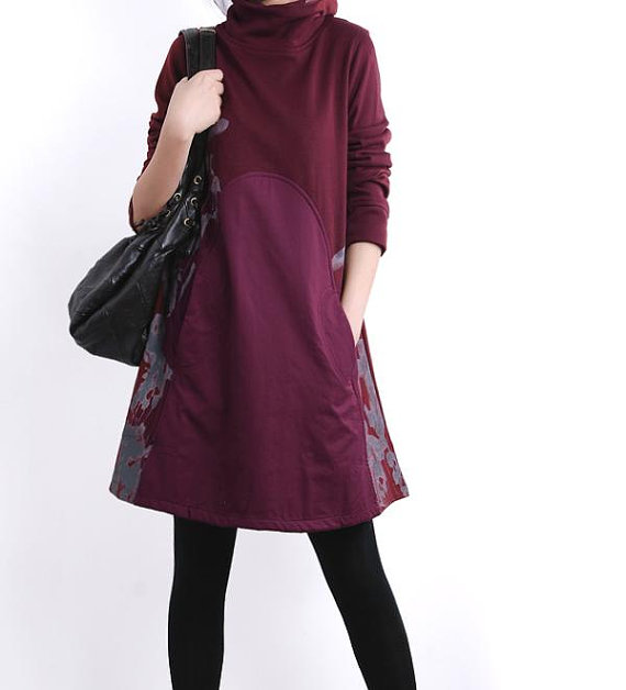 clothing women dress blouse coat long sleeve tunic babydoll dress top loose with size comfortable spring autumn purple red