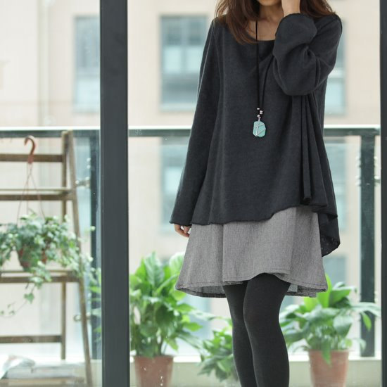 bice, black, blouse, brown, clothing, dress, long, sweater dress, women