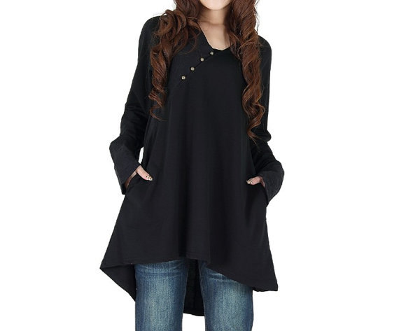 asymmetric, autumn, babydoll, blouse, clothing, comfortable, dress, long sleeve, loose, pullover, shirt, spring, top, tunic, women