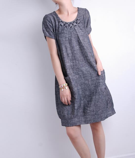 babydoll, clothing, dress, gray, long, loose, shirt, short sleeved, tunic, women