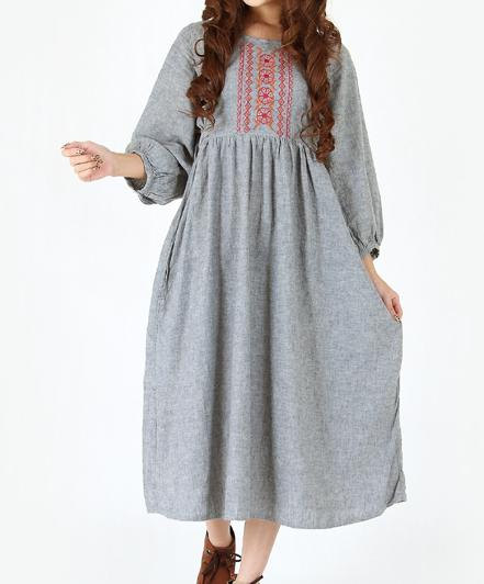 casual, clothing, costume, dress, gown, gray, khaki, light beige, linen dress, long dress, loose, mini, tunic, women