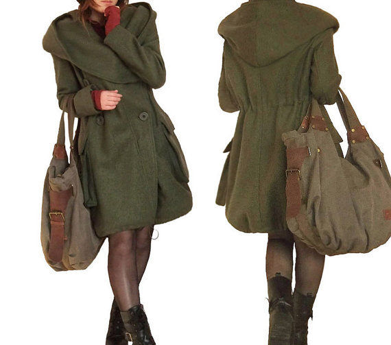 army green, autumn, clothing, coat, cute, double breasted, drawstring, hooded, jacket, long, long sleeve, loose, outerwear, winter coat, women, woolen coat
