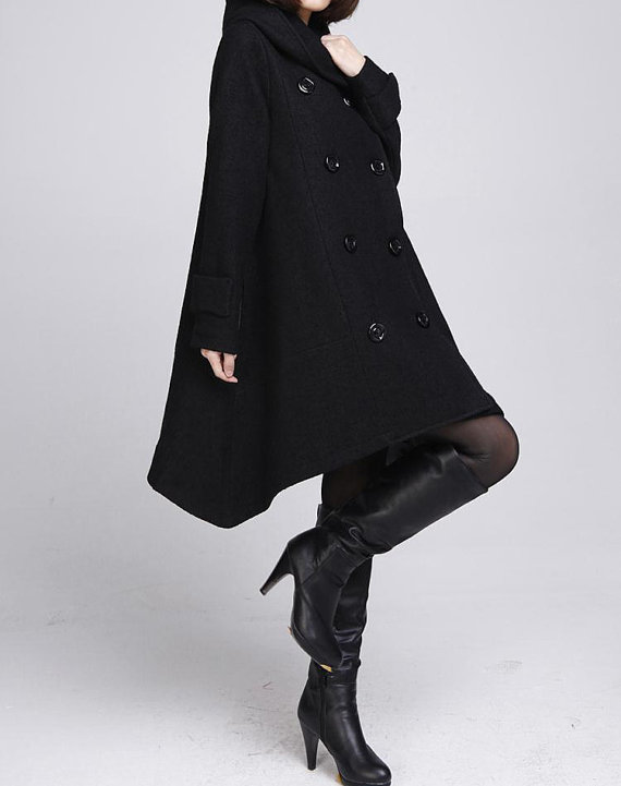 asymmetric, babydoll, casual, clothing, hoodie, jacket, long, loose, outerwear, top, warm, winter coat, women, wool cloak coat