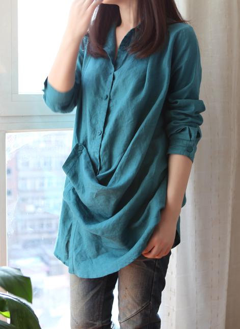 babydoll, blouse, casual, clothing, green, lapel, linen, long, long sleeve, pleated, shirt, spring, tunic, women