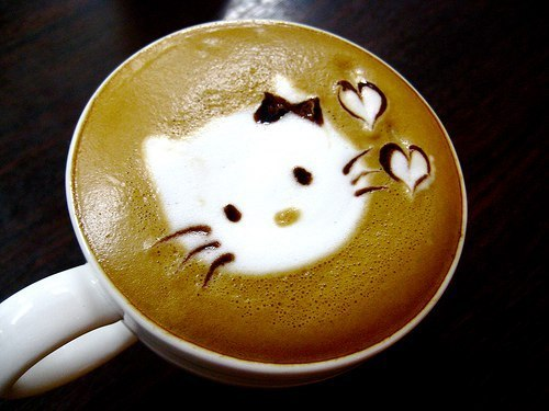 coffee, kitty, cute