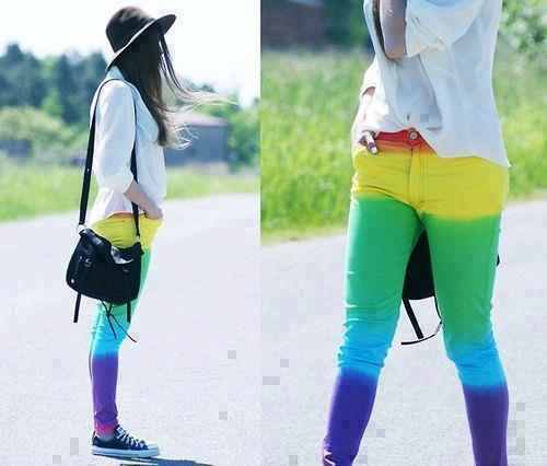 colorful, converse, girl, hat, jeans, rainbow, shirt