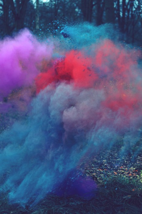 colorful, forest, smoke