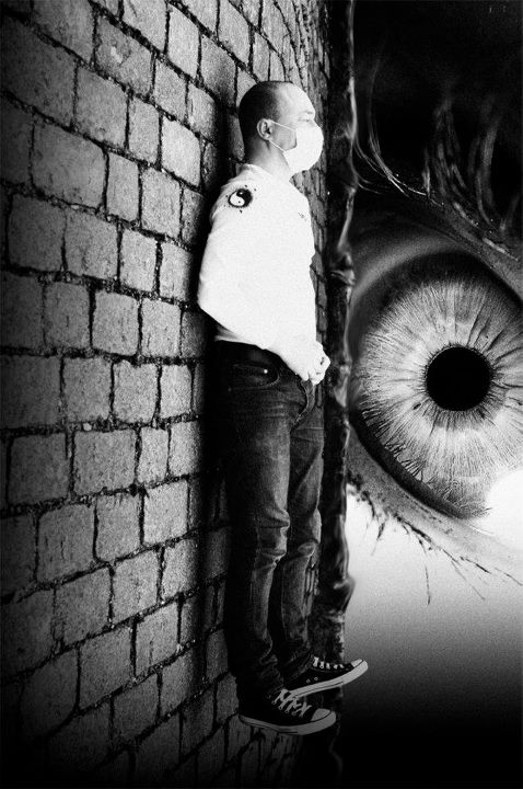 conceptual, eye, flying, black and white