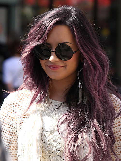 demi, glasses, hair, perfect, purple, smile, sweater