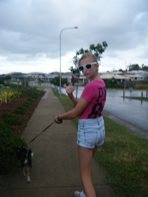 dog, walk, blonde, denim shorts