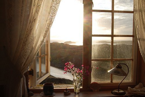flower, flowers, lamp, mountain, mountains, old, photo, photography, room, view, vintage, window, wood