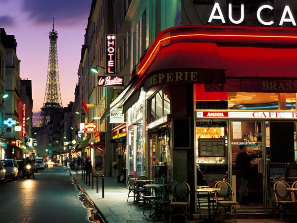 france, hotel, cafe, street, eiffel tower