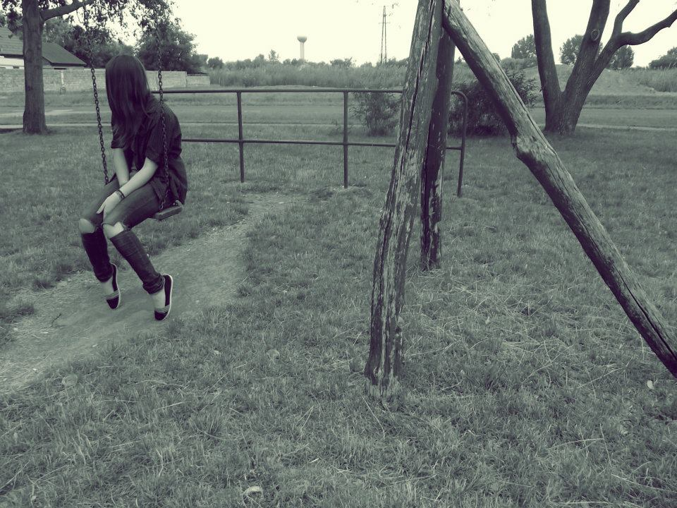 girl, alone, jeans, swing