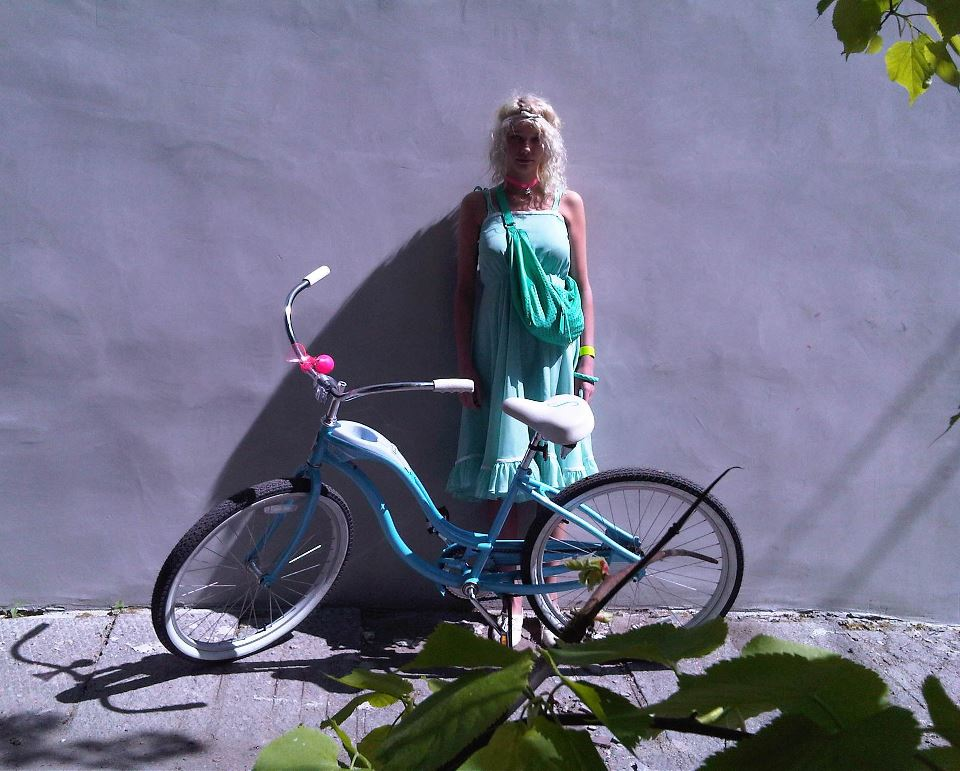 girl, bike, summer, dress, blue