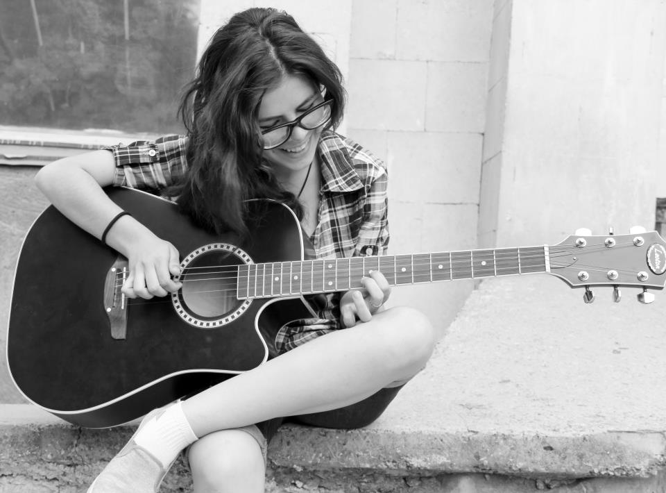 girl, black and white, guitar, happy, glasses