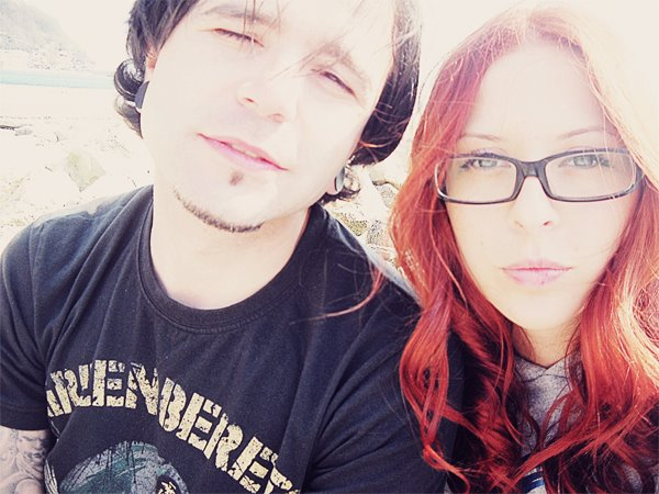beautiful, blue, blue eyes, boy, cool, couple, cute, eyes, fashion, flesh tunnel, girl, glasses, hair, plug, red, red hair, tattoo