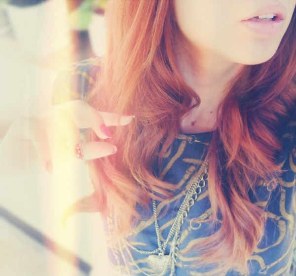 amazing, blue, cool, cute, girl, hair, heart, lips, long, nails, necklace, photography, pink, red, red hair, sexy
