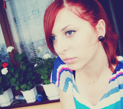 girl, red, hair, red hair, pink
