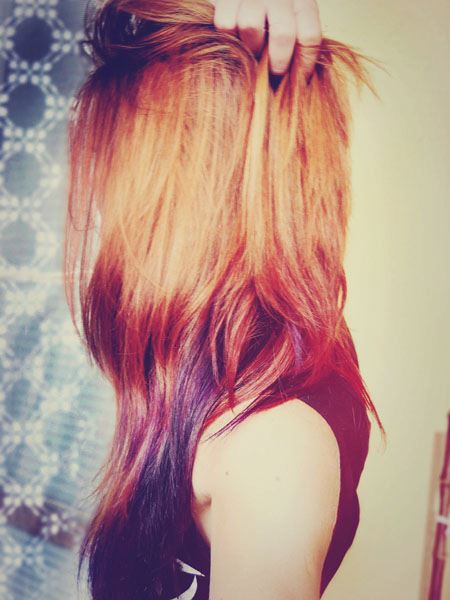 amazing, beautiful, colorful, colorful hair, cute, fashion, girl, hair, love, photography, purple, red, red hair, sweet