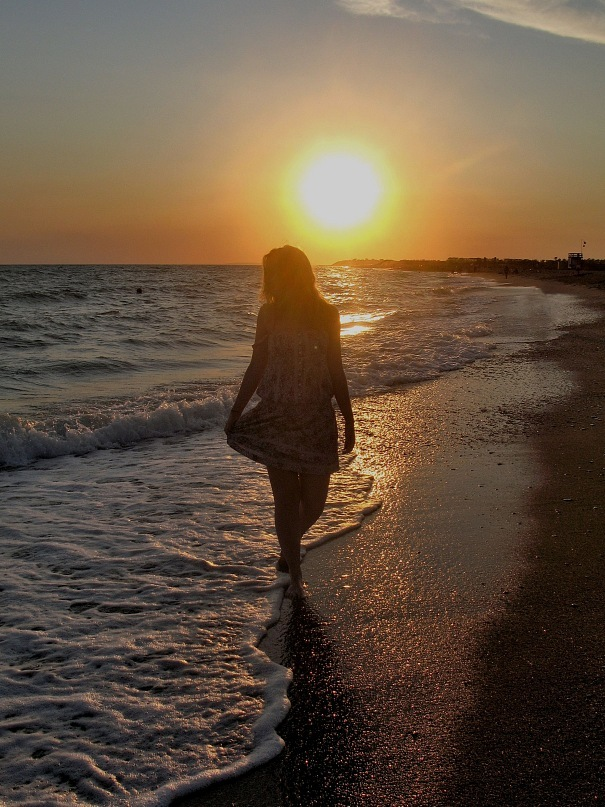 alone, beach, blonde, girl, holidays, joy, sea, summer, sunset