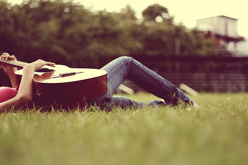 guitar, girl, grass