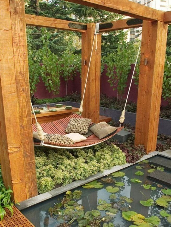 hammock, mini lake