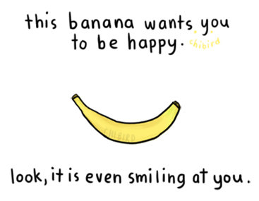 happy, banana, art, drawing, quote