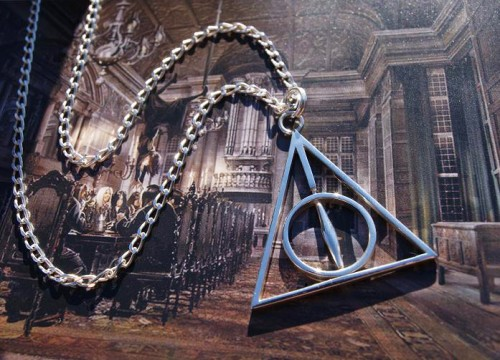 harry potter, harry potter necklace, deathly hallows, deathly hallows necklace, pyramid necklace