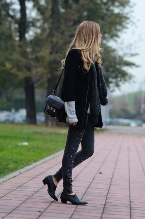 invierno, girl, alone, black, fashion