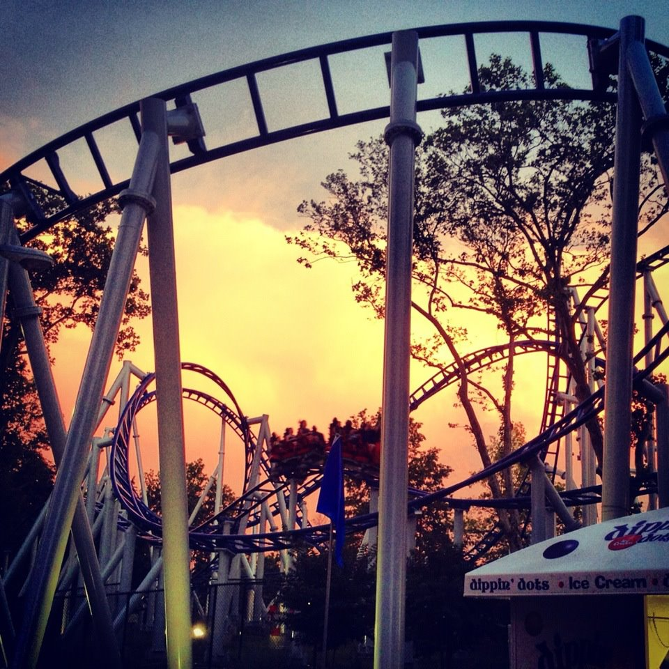 kennywood, roller coaster, sunset, colorful, dreams