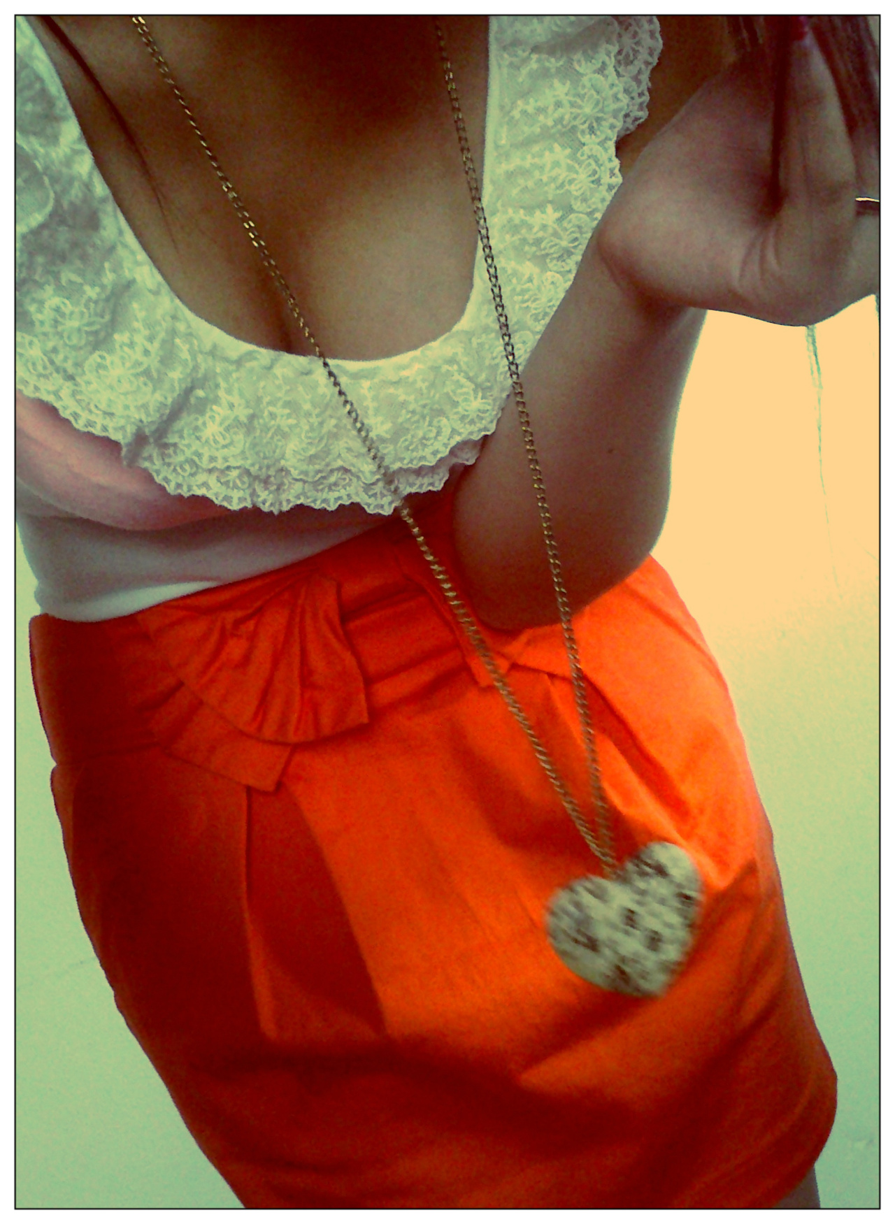 lace, orange, skirt, neclace, bow