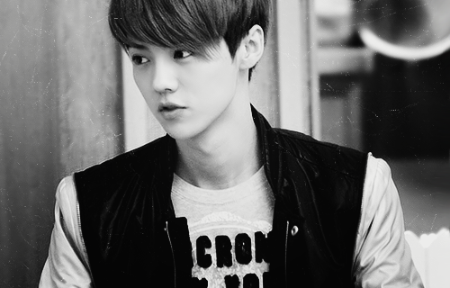 luhan, exo m, balck and white