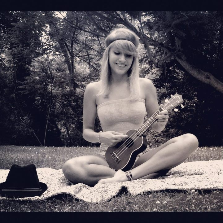 me, girl, blonde, summer, ukulele