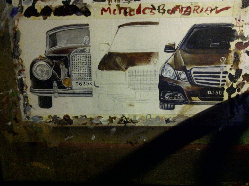 mercedes, art, brown, canvas, paint