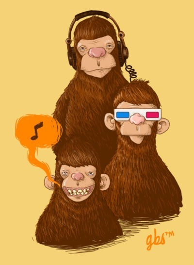 monkeys, headphones, 3d, music