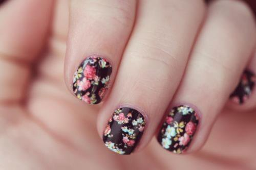 nails, flower, girl