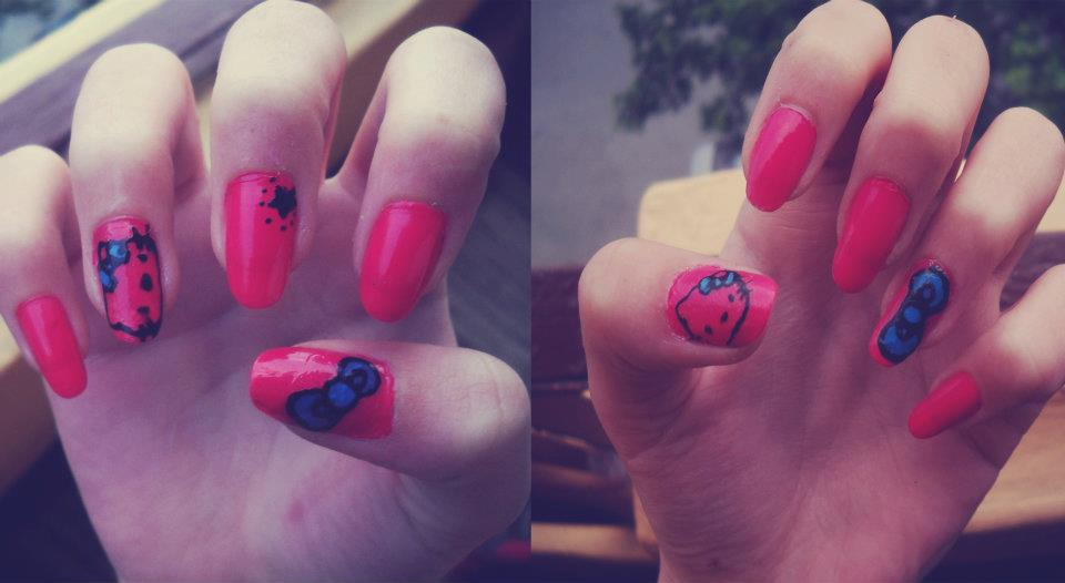 nails, hello kitty, kitty, pink, fashion