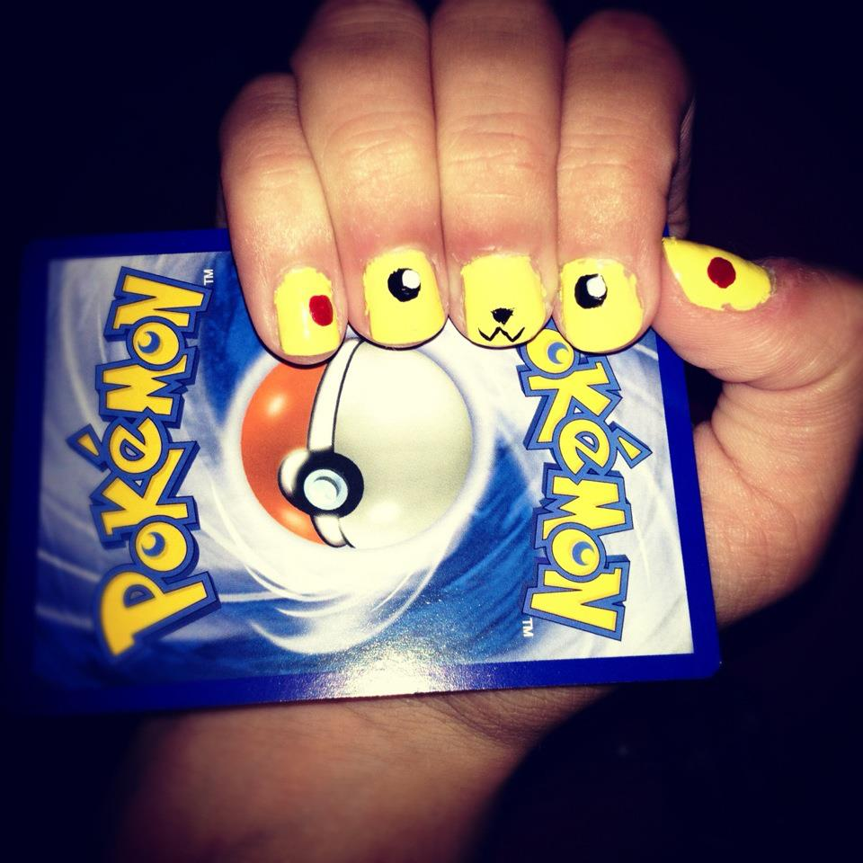 nails, nail art, pikachu, pokemon, cute