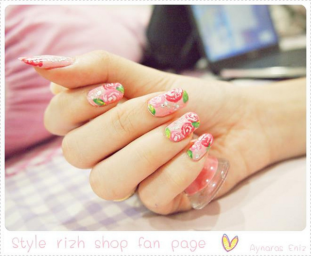 nails, nail art, vintage, flower