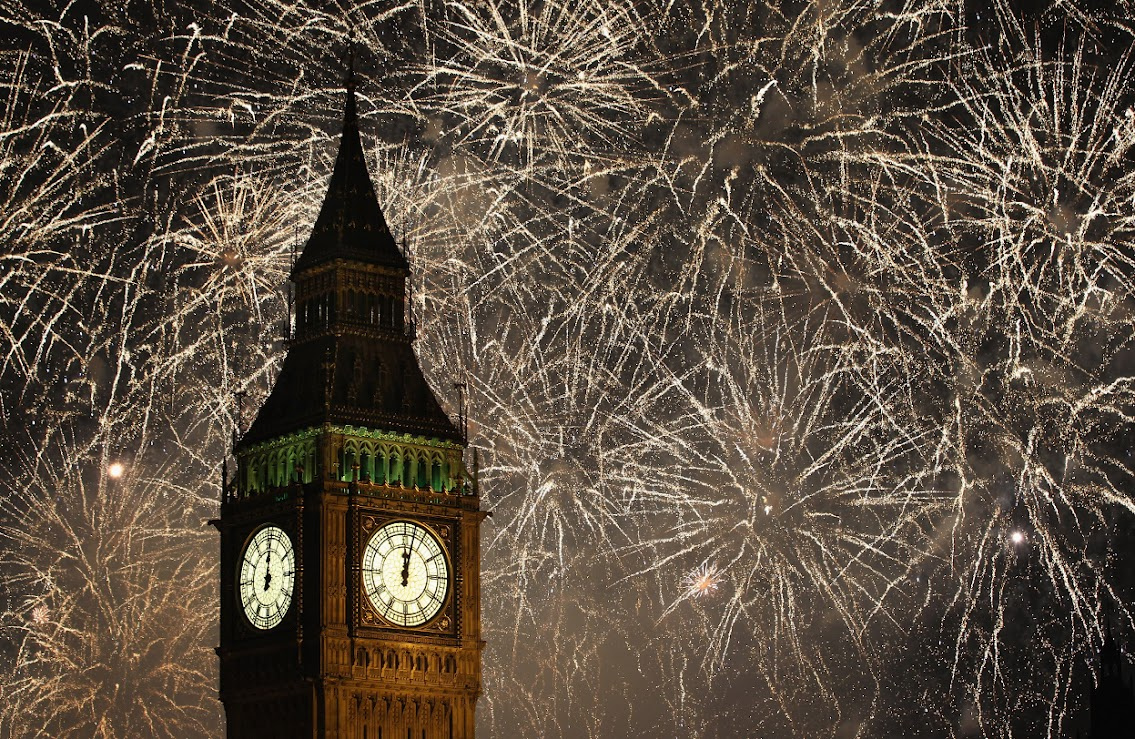 new years eve, fireworks, big ben, twelve oclock, night