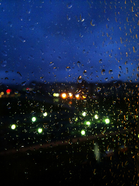 night, rain, drops