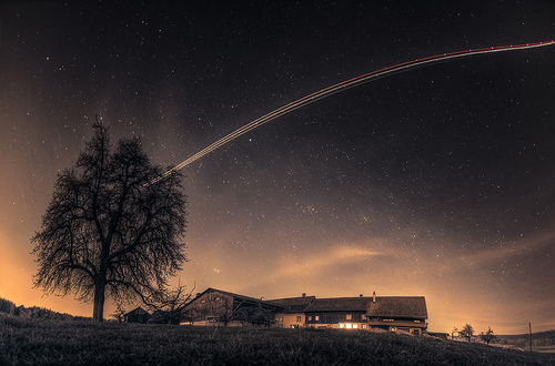 beautiful, dark, home, house, nature, night, old, photo, photography, stars, tree, universe, village