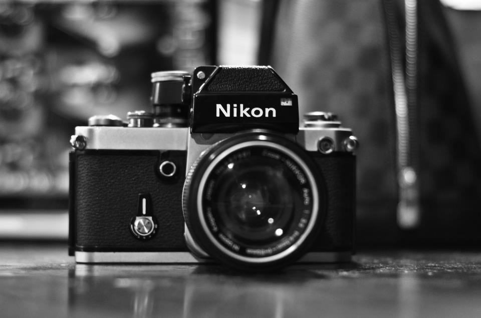 nikon, antique, black and white