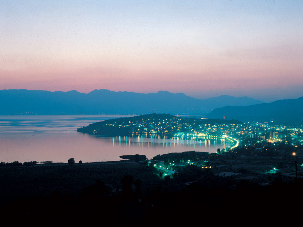 ohrid, macedonia, lights, night, lake